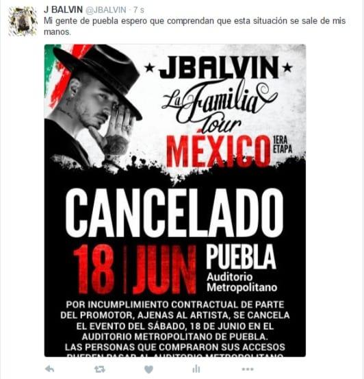 j balvin concierto mexico cancelado