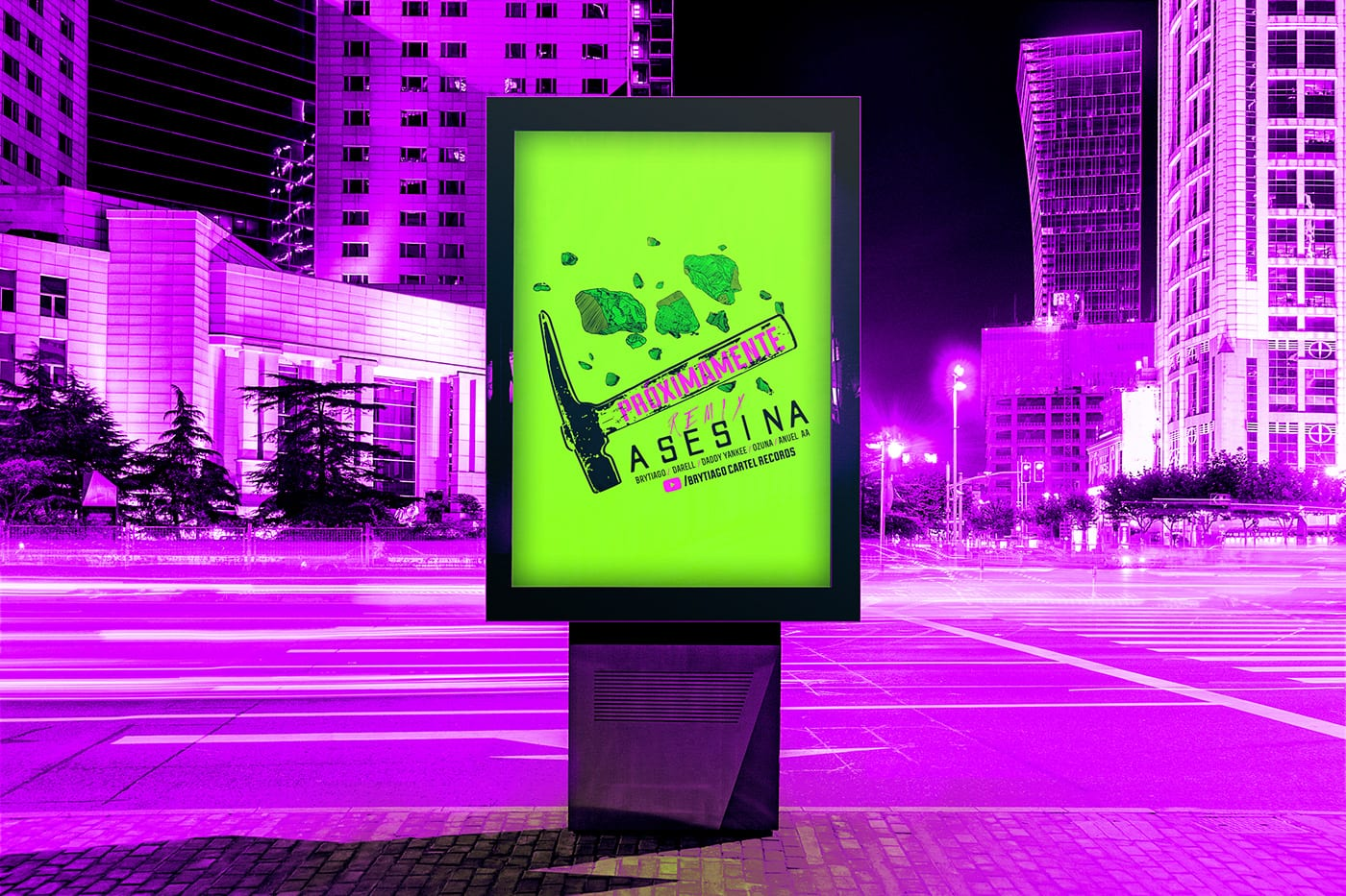 afiche en la calle verde limón fondo fucsia asesina 2heart