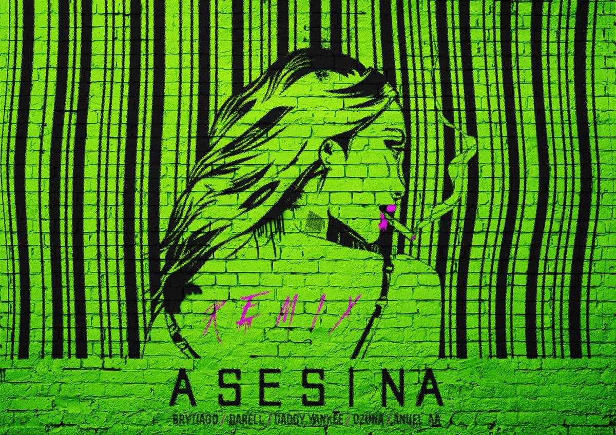 mural pintado verde limón asesina 2heart